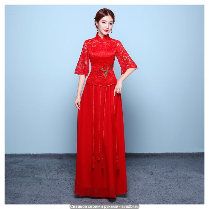 Shanghai Story Half Sleeve Lace cheongsam Qipao for woman chinese Style clothing Butterfly Lace Sleeve chinese - Традиционная китайская свадебная одежда (фото)